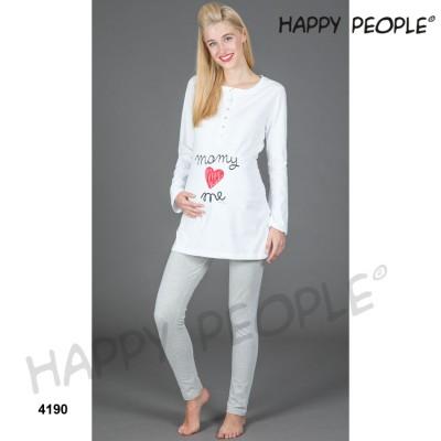 Happy People Γυναικεία Πυζάμα Με Πατιλέτα, Μακρυμάνικη και Κολάν Mamy