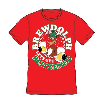 CargoBay Ανδρικό Χριστουγεννιάτικο T-Shirt - Red Brewdolf Let's Get Blitzened