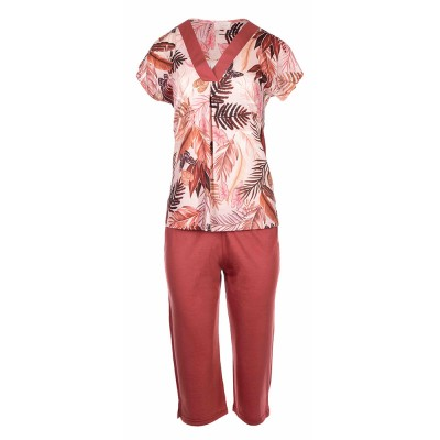 Pink Label Γυναικεία Καλοκαιρινή Πυτζάμα Capri - Palm Leaf