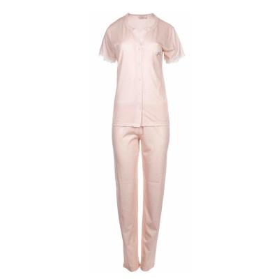 Pink Label Γυναικεία Καλοκαιρινή Πυτζάμα με Μακρύ Παντελόνι - Baby Pink - Plus Size