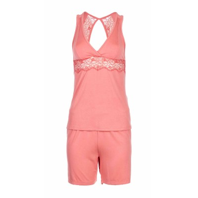 Pink Label Γυναικεία Καλοκαιρινή Πυτζάμα Αμάνικη με Κοντό Παντελόνι - Little Heart