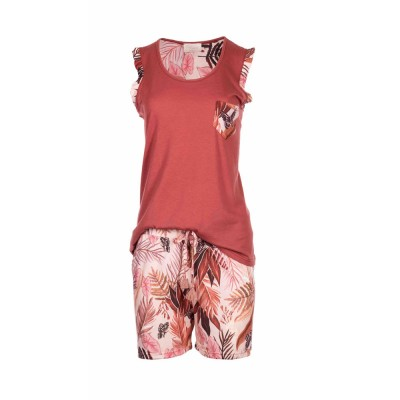 Pink Label Γυναικεία Καλοκαιρινή Πυτζάμα Αμάνικη νε Κοντό Παντελόνι - Palm Leaf