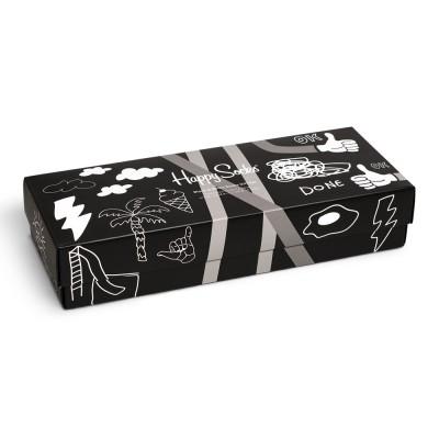 Happy Socks - 4-Pack Black And White Socks Gift Set -Κάλτσες Συσκευασία Δώρου